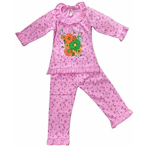 Niknod Baby Girl Full Sleeves Clothing Night Wear Sleep Suit - A Set of Hosiery Cotton Frock T-Shirt with Pajama Dress (Print Designs May Vary) (12-18 Months, Pink)