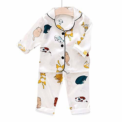 Hopscotch Baby Girls Polyester, Viscose Full Sleeves Cat Printed Top and Pyjama Set in White Color for Ages 6-12 Months (CB9-3083321)