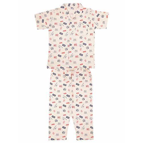 Teddy Boy's Cotton Night Suit Set (TEDDY-BNS-NSUIT-2853C-BEIGE-32_Assorted_7-8 Years)