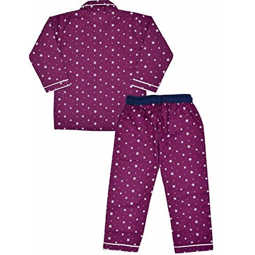 SHOPMOZO Unisex Pure Cotton Full Sleeved Printed Night Suit for Boys and Girls Full Pyjama with Top Combo Set (SM-00223UNISEXSWOF_8-9 Years Multicolor)