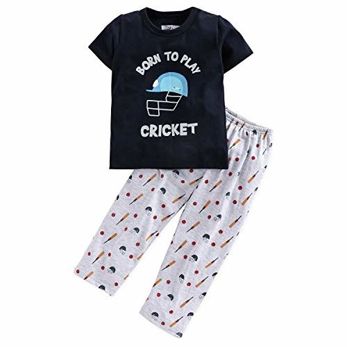 NITE FLITE Boys' Cricket Print Cotton Nightwear | Top and Pyjama Set (Multi-Colour, 8)