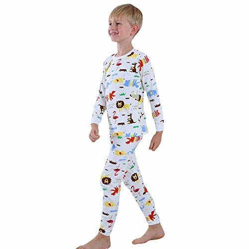 Hopscotch Boys Cotton Animal Print Full Sleeves Tshirt and Pyjama Set in White Color for Ages 6-7 Years