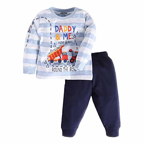 Hopscotch Cucumber Baby Boys 100% Cotton Full Sleeves Checked Printed Top and Pyjama Set in Gray Color for Ages 18-24 Months (CUM-3161805)