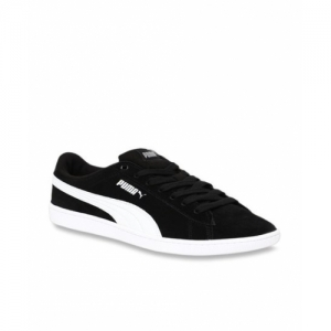 Puma Black Leather Lace Up Sneakers