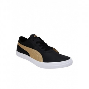 Puma Black Synthetic Lace Up Flat Casual Shoes