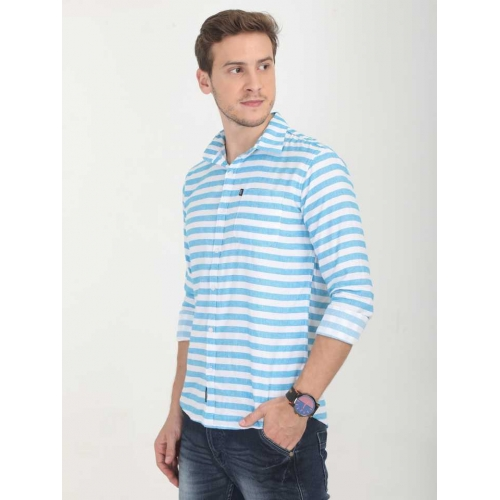 Rope White & Sky Blue Cotton Striped Full Sleeves Casual Shirts