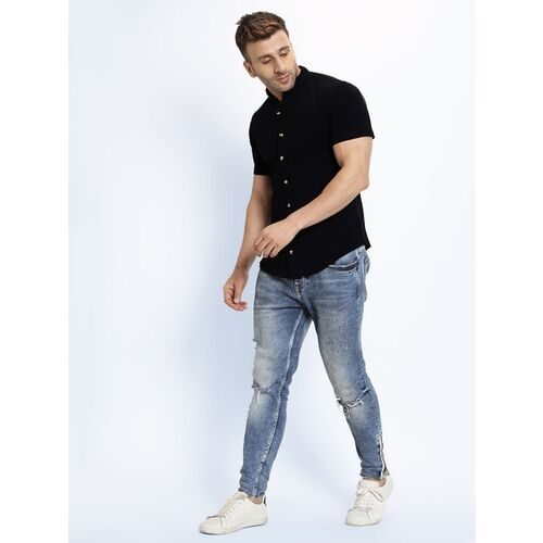 GESPO Black Cotton Solid Short Sleeves Casual Shirts