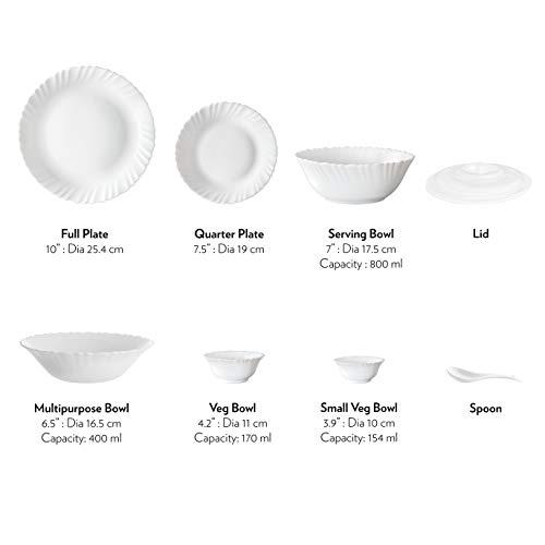 Larah by Borosil Blue Eve Silk Series Opalware Dinner Set, 19 Pieces, Blue Eve Silk