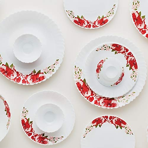Larah by Borosil Rose Red Silk Series Opalware Dinner Set, 19 Pieces, White