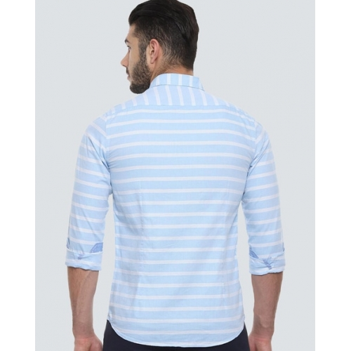 LOUIS PHILIPPE Sky Blue Cotton Striped Slim Fit Casual Shirts