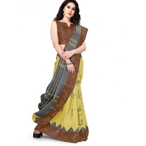 Mirchi Fashion Yellow Khadi Silk Animal Print Contrast Border Saree