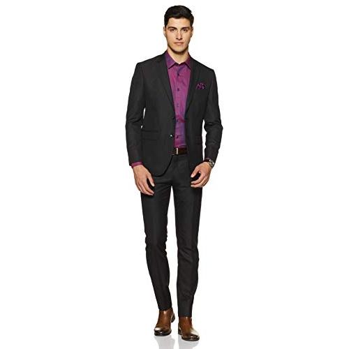 Amazon Brand - Symbol Purple Cotton Solid Full Sleeves Partywear Shirt