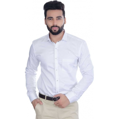 5th Anfold White Cotton Solid Full Sleeves Formal Shirt