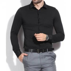 Royal Fashion Black Cotton Solid Full Sleeves Formal Shirt