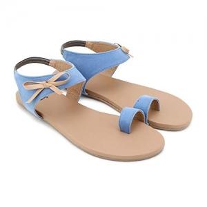 Jasta Sky Blue Pull On Flat Sandal