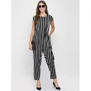 RAVI CORPORATION Black Crepe Striped Jumpsuit