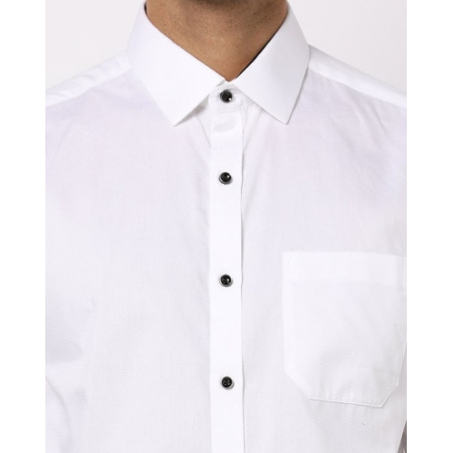 NETWORK White Cotton Solid Full Sleeves Formal Shirts