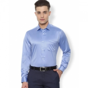 VAN HEUSEN Blue Cotton Solid Full Sleeves Formal Shirt