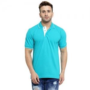 Scott International Sky Blue Cotton Solid Polo T-Shirt