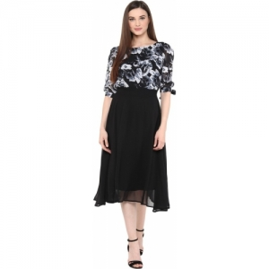 Harpa Black Poly Georgette Fit and Flare Dress
