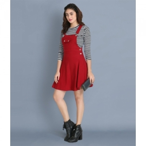 Buy New Trend Maroon Cotton Lycra Pinafore Dress