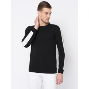 Rigo Black Cotton Solid Full Sleeve T-Shirt