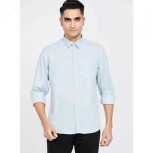 INDIAN TERRAIN Sky Blue Cotton Printed Slim Fit Casual Shirt