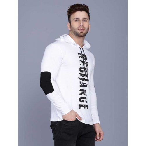Rockhard White Cotton Printed Hooded Neck T-Shirt