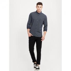 INDIAN TERRAIN Black Cotton Printed Slim Fit Casual Shirt