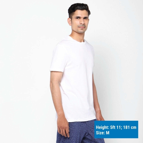 DOMYOS White Cotton Solid Short Sleeve T-Shirt