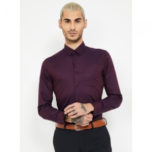 BLACKBERRYS Dobby Purple Cotton Textured Slim Fit Formal Shirt