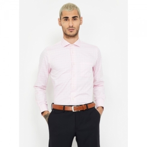 BLACKBERRYS Pink Cotton Checked Slim Fit Formal Shirt