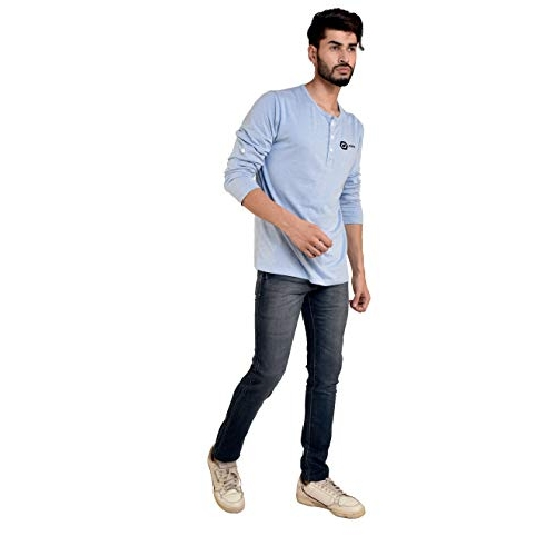 KIPA Sky Blue Cotton Solid Regular Fit Henley T-Shirt
