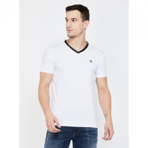 BEING HUMAN White Cotton Solid Slim Fit T-shirt