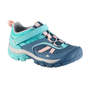 QUECHUA Kids Hiking Shoes (CROSSROCK) Velcro - Turquoise