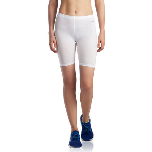 Lavos Bamboo Cotton High Rise Full Coverage Layering Shorts - White