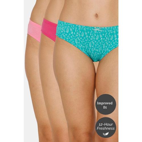 Zivame (Pack of 3) Bikini Low Rise Anti-Microbial Panty - Ceramic Rose Glory
