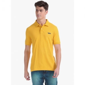 FLYING MACHINE Yellow Cotton Solid Slim Fit Polo T-shirt