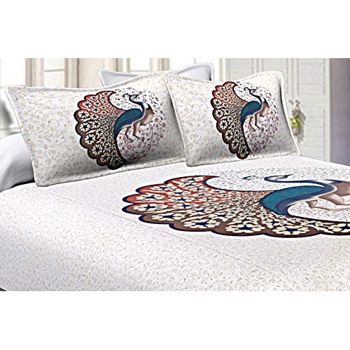 JaipurFabric 240 TC Cotton Jaipuri Double Bedsheet with 2 Pillow Cover Set