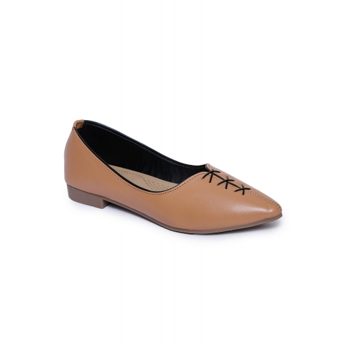 Shezone Beige Leatherette Comfortable Pointed Bellies