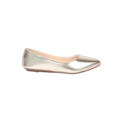 Feel It Silver Leather Slip On Solid Ballerinas