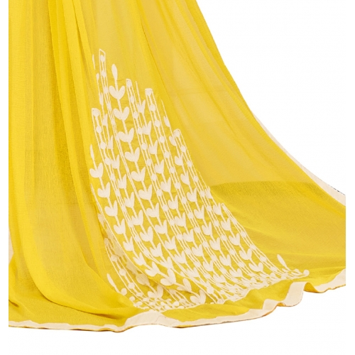 DnVeens Yellow And White  Pure Cotton Embroidered Unstitched Salwar Kameez Suit Set Dress Material