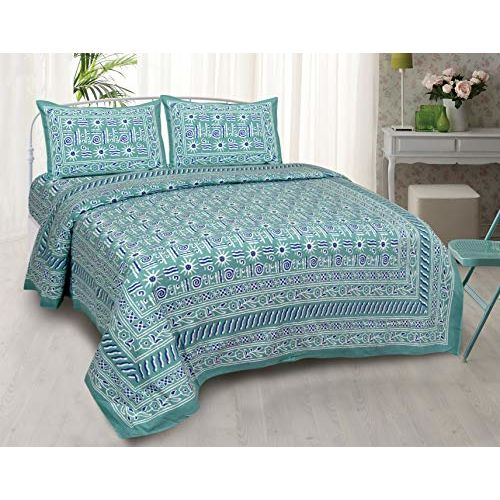 JaipurFabric Cotton Jaipuri Double Bedsheet with 2 Pillow Cover Green Modern Art King Size/90x 108-inch