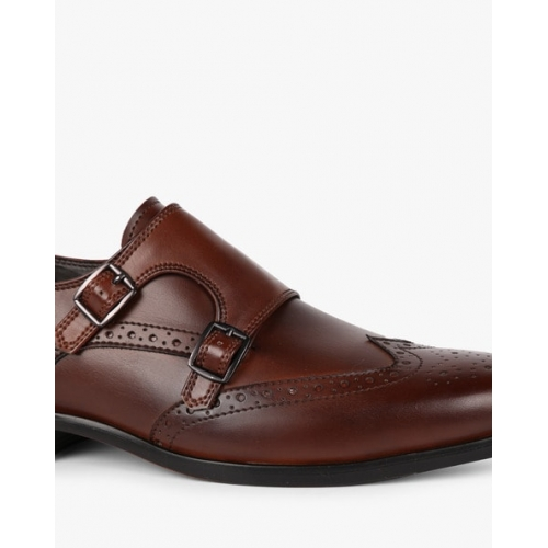 STELVIO Brown Synthetic Monk-Style Formal Shoes