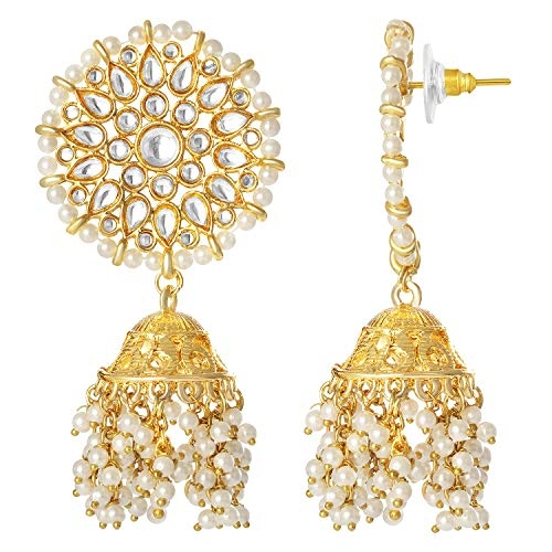Peora Traditional Gold Plated Brass and Kundan Jhumki Earrings