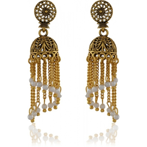 Tinera Trends Gold-plated Jhumka Along With Chain Latkan Pearl Brass Jhumki Earring
