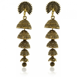 Tinera Trends Gold-plated Many Jhumkas Hanging From The Dancing Mayur Brass Jhumki Earring