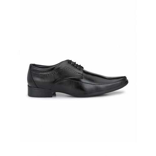 Sir Corbett Black Leather Solid Lace Up Derby Shoes