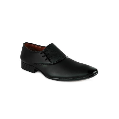 HANIIY Black Leatherette Lace Up Formal Shoes
