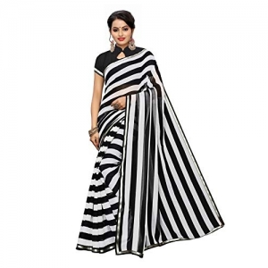 Satrani (1453ST101) Black & White Chiffon Striped Saree With Blouse Piece